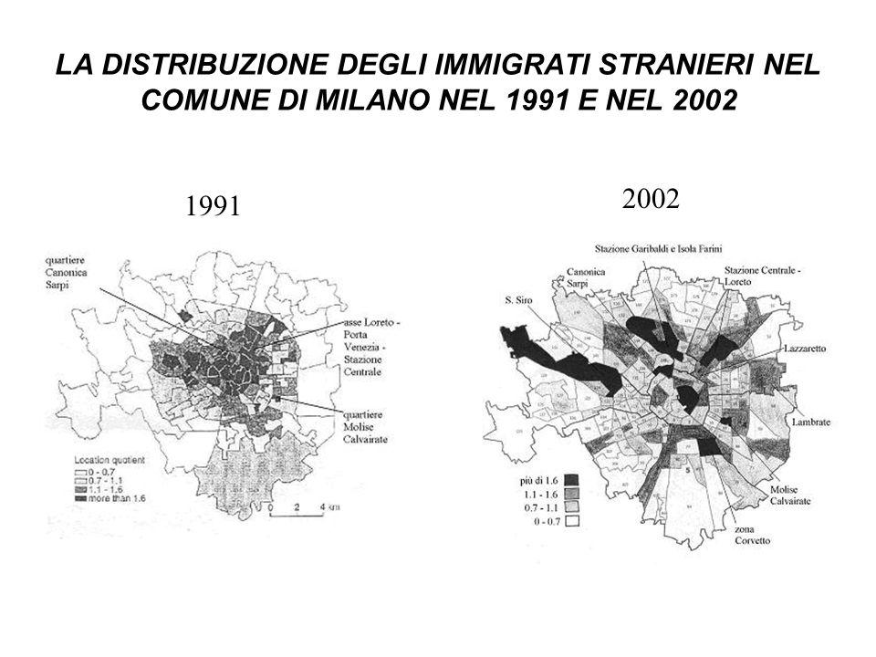 LA DISTRIBUZIONE DEGLI IMMIGRATI STRANIERI NEL COMUNE DI MILANO NEL 1991 E NEL 2002 1991 2002
