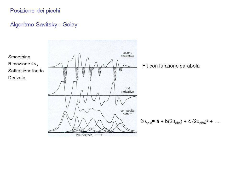 Posizione dei picchi Algoritmo Savitsky - Golay Fit con funzione parabola 2 calc = a + b(2 obs ) + c (2 obs ) 2 + …. Smoothing Rimozione K 2 Sottrazio