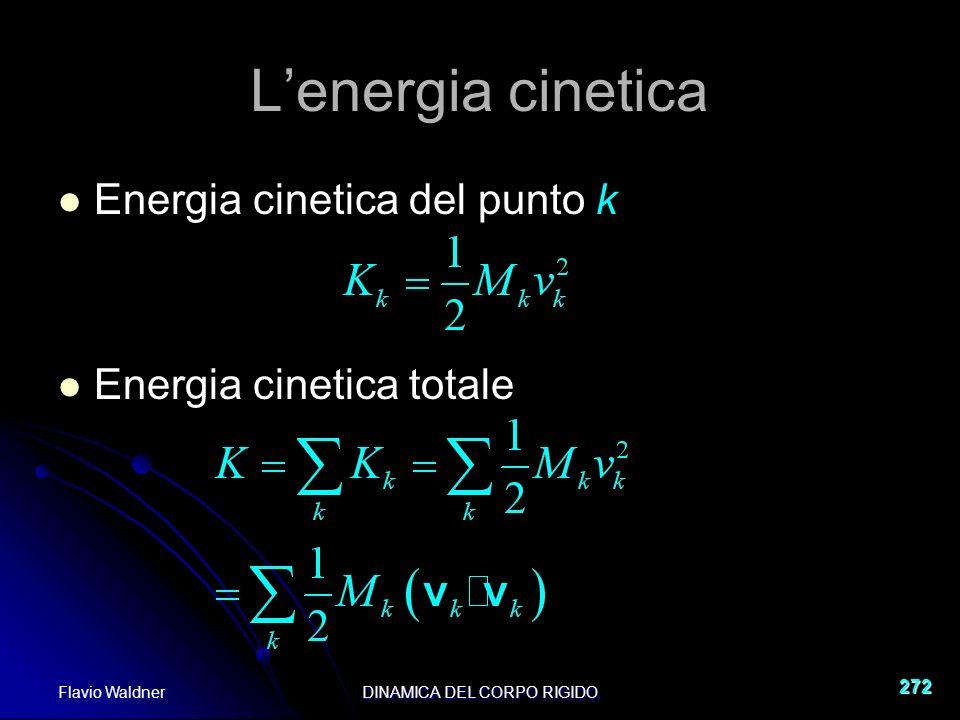 Flavio WaldnerDINAMICA DEL CORPO RIGIDO 272 Lenergia cinetica Energia cinetica del punto k Energia cinetica totale