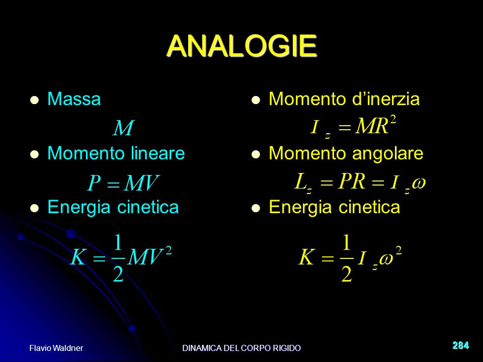 Flavio WaldnerDINAMICA DEL CORPO RIGIDO 284 ANALOGIE Massa Momento lineare Energia cinetica Momento dinerzia Momento angolare Energia cinetica