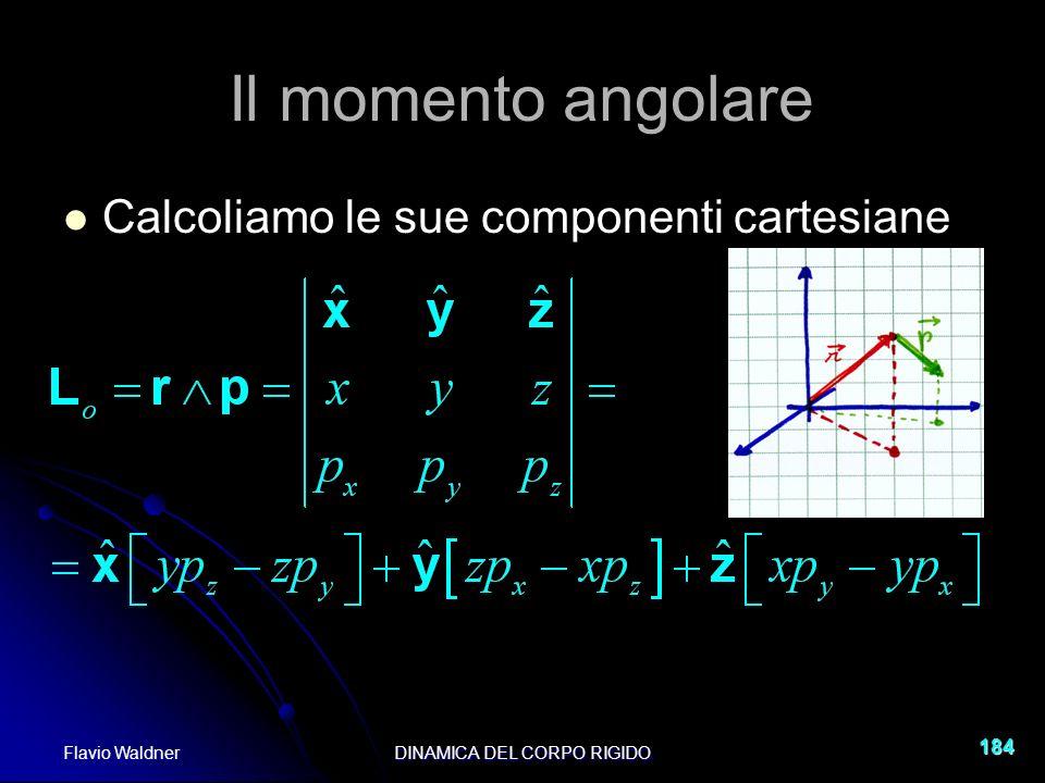 Flavio WaldnerDINAMICA DEL CORPO RIGIDO 184 Il momento angolare Calcoliamo le sue componenti cartesiane