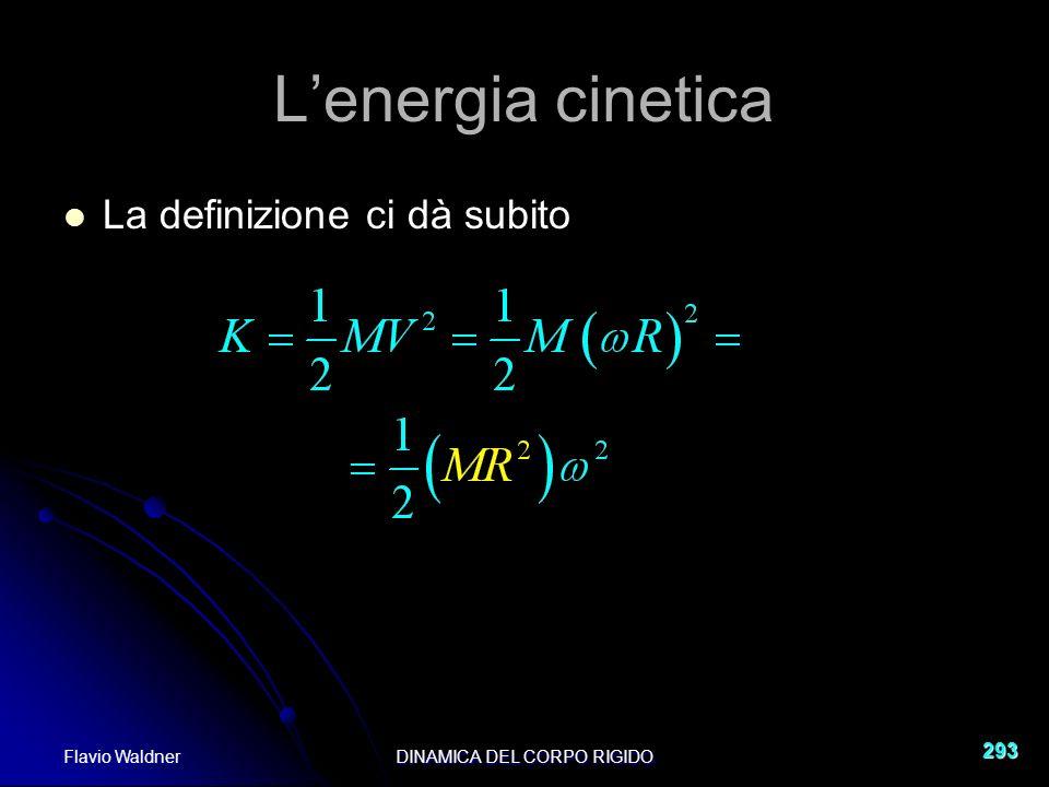 Flavio WaldnerDINAMICA DEL CORPO RIGIDO 293 Lenergia cinetica La definizione ci dà subito