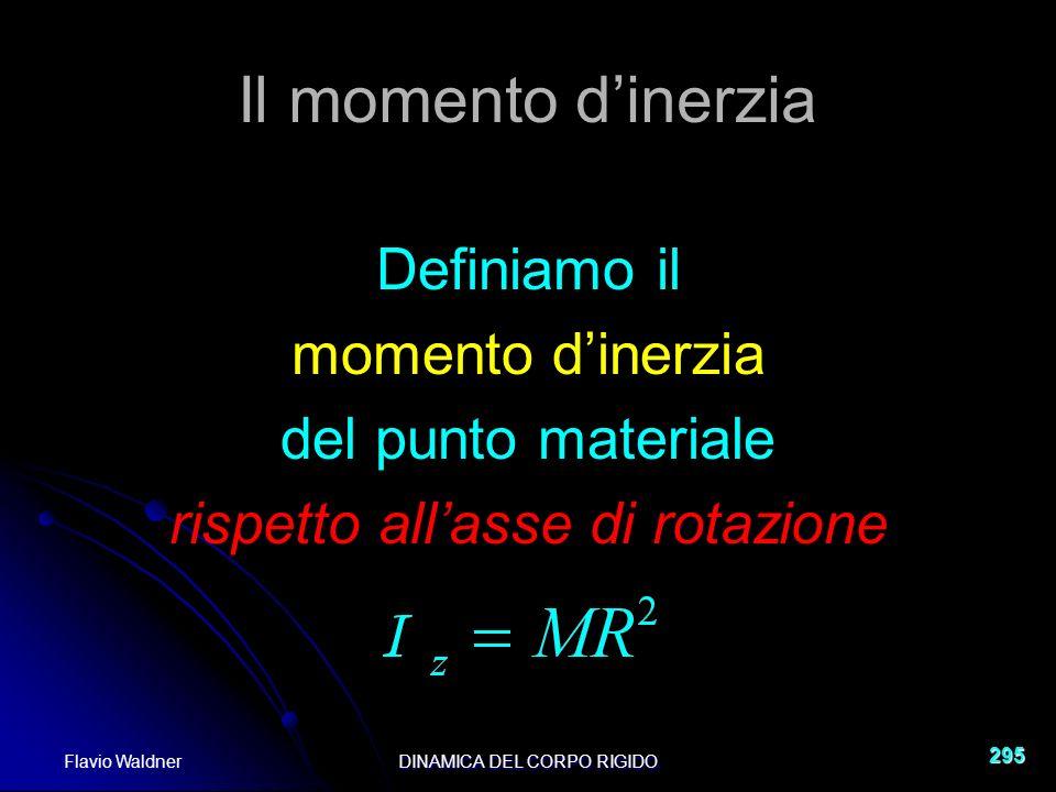 Flavio WaldnerDINAMICA DEL CORPO RIGIDO 295 Il momento dinerzia Definiamo il momento dinerzia del punto materiale rispetto allasse di rotazione