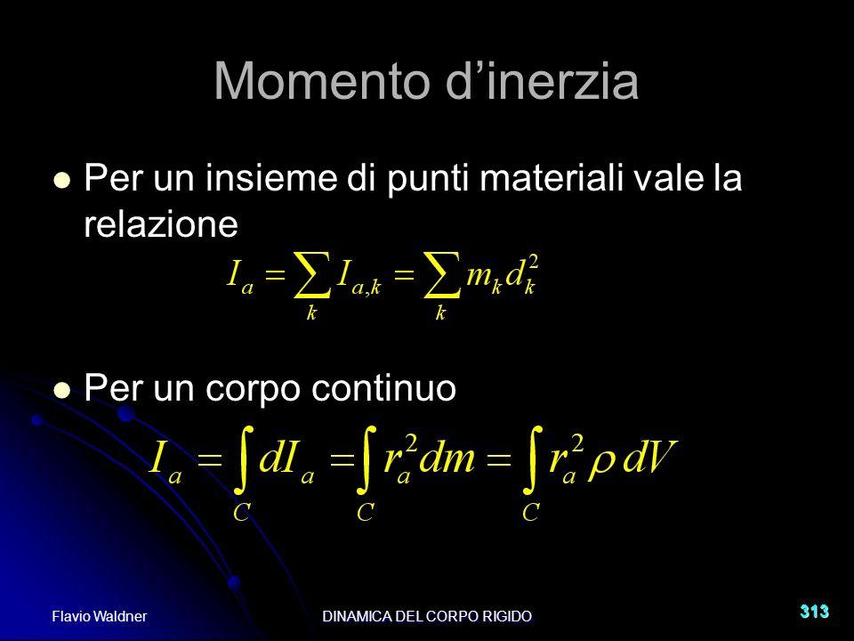 Flavio WaldnerDINAMICA DEL CORPO RIGIDO 313 Per un insieme di punti materiali vale la relazione Per un corpo continuo Momento dinerzia