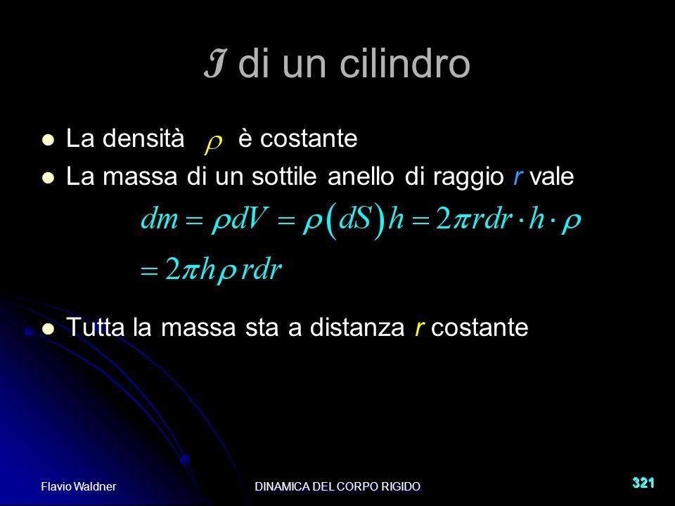 Flavio WaldnerDINAMICA DEL CORPO RIGIDO 321 I di un cilindro La densità è costante La massa di un sottile anello di raggio r vale Tutta la massa sta a distanza r costante