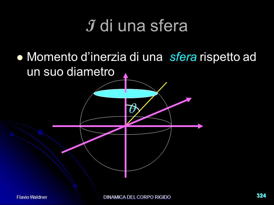 Flavio WaldnerDINAMICA DEL CORPO RIGIDO 324 I di una sfera Momento dinerzia di una sfera rispetto ad un suo diametro
