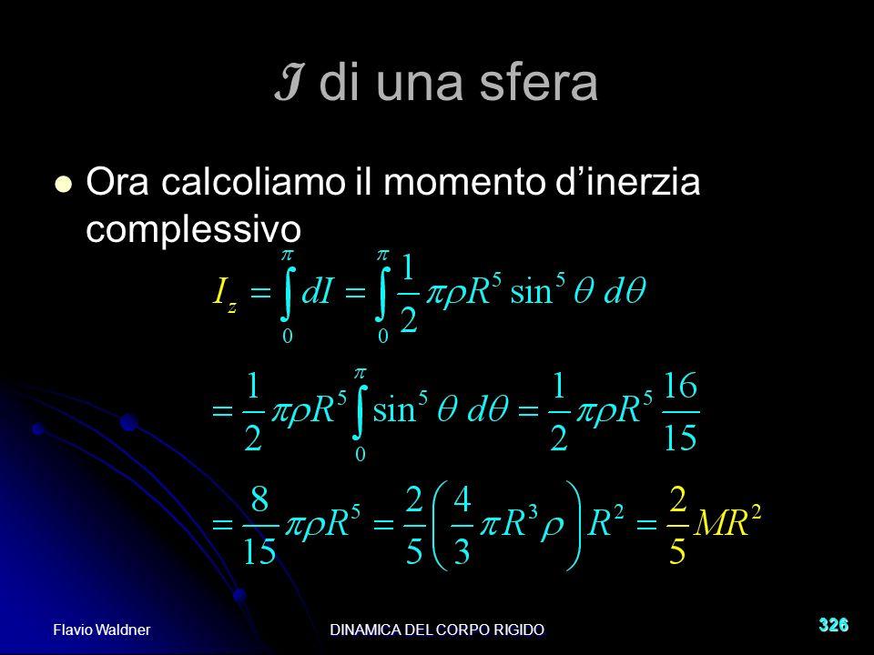 Flavio WaldnerDINAMICA DEL CORPO RIGIDO 326 I di una sfera Ora calcoliamo il momento dinerzia complessivo