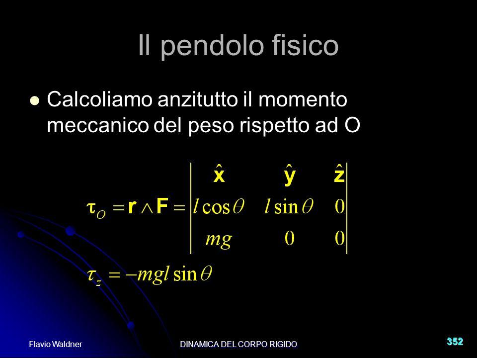 Flavio WaldnerDINAMICA DEL CORPO RIGIDO 352 Il pendolo fisico Calcoliamo anzitutto il momento meccanico del peso rispetto ad O