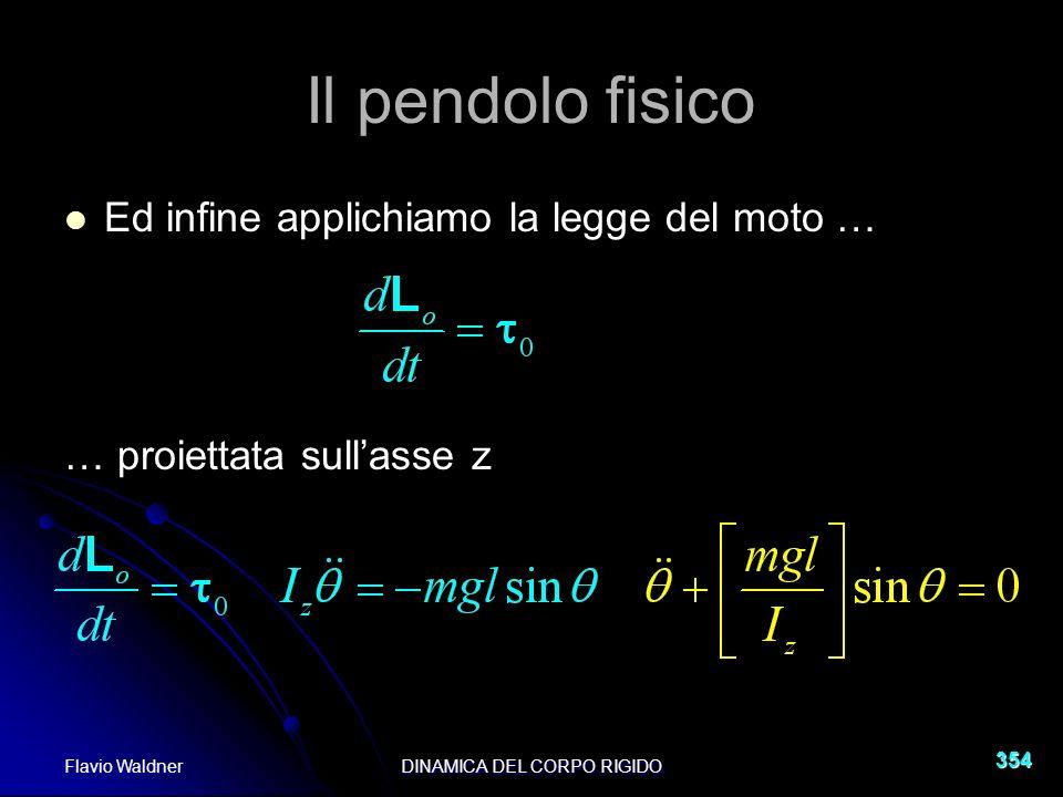 Flavio WaldnerDINAMICA DEL CORPO RIGIDO 354 Il pendolo fisico Ed infine applichiamo la legge del moto … … proiettata sullasse z