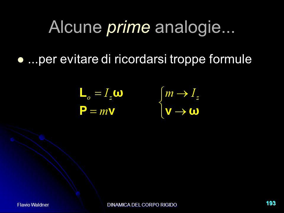 Flavio WaldnerDINAMICA DEL CORPO RIGIDO 193 Alcune prime analogie......per evitare di ricordarsi troppe formule