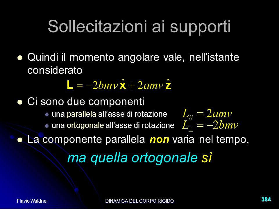 Flavio WaldnerDINAMICA DEL CORPO RIGIDO 384 Sollecitazioni ai supporti Quindi il momento angolare vale, nellistante considerato Ci sono due componenti una parallela allasse di rotazione una ortogonale allasse di rotazione La componente parallela non varia nel tempo, ma quella ortogonale sì