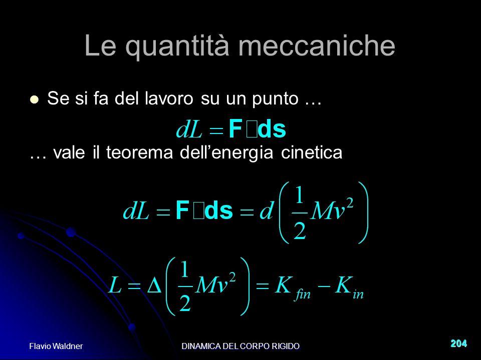 Flavio WaldnerDINAMICA DEL CORPO RIGIDO 204 Le quantità meccaniche Se si fa del lavoro su un punto … … vale il teorema dellenergia cinetica