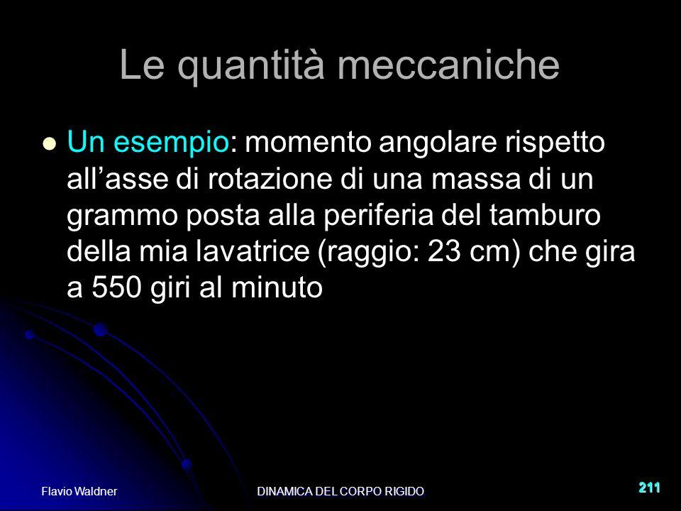 Flavio WaldnerDINAMICA DEL CORPO RIGIDO 211 Le quantità meccaniche Un esempio: momento angolare rispetto allasse di rotazione di una massa di un grammo posta alla periferia del tamburo della mia lavatrice (raggio: 23 cm) che gira a 550 giri al minuto