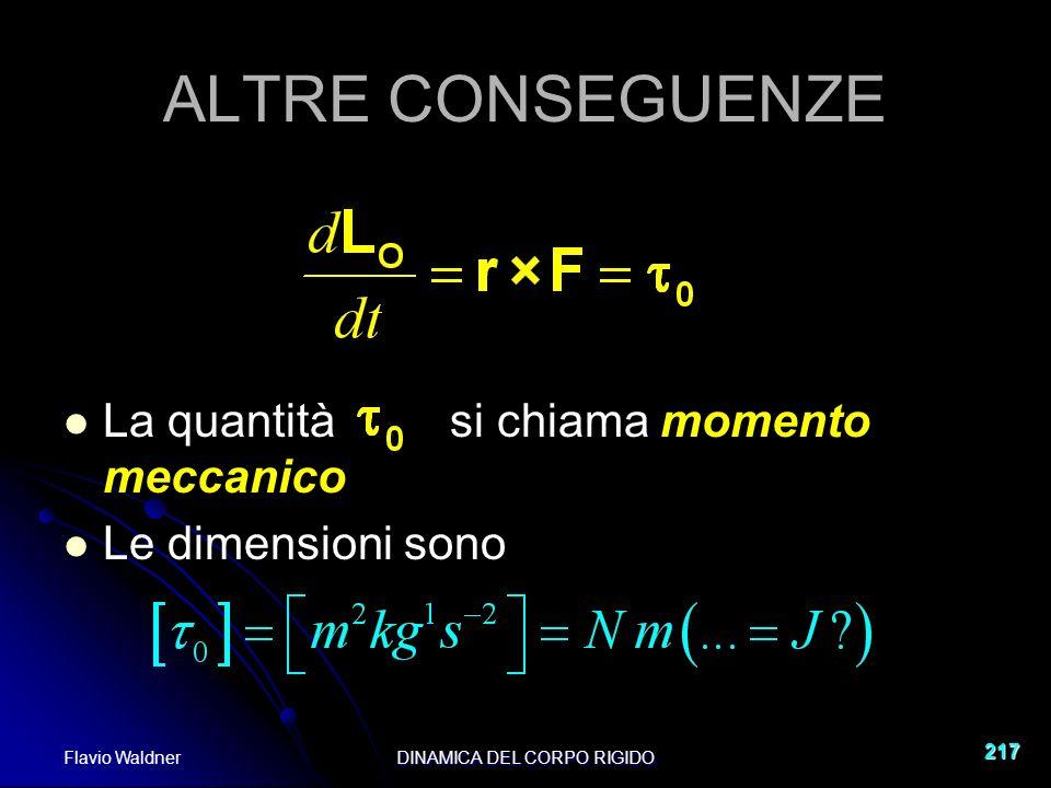 Flavio WaldnerDINAMICA DEL CORPO RIGIDO 217 ALTRE CONSEGUENZE La quantità si chiama momento meccanico Le dimensioni sono