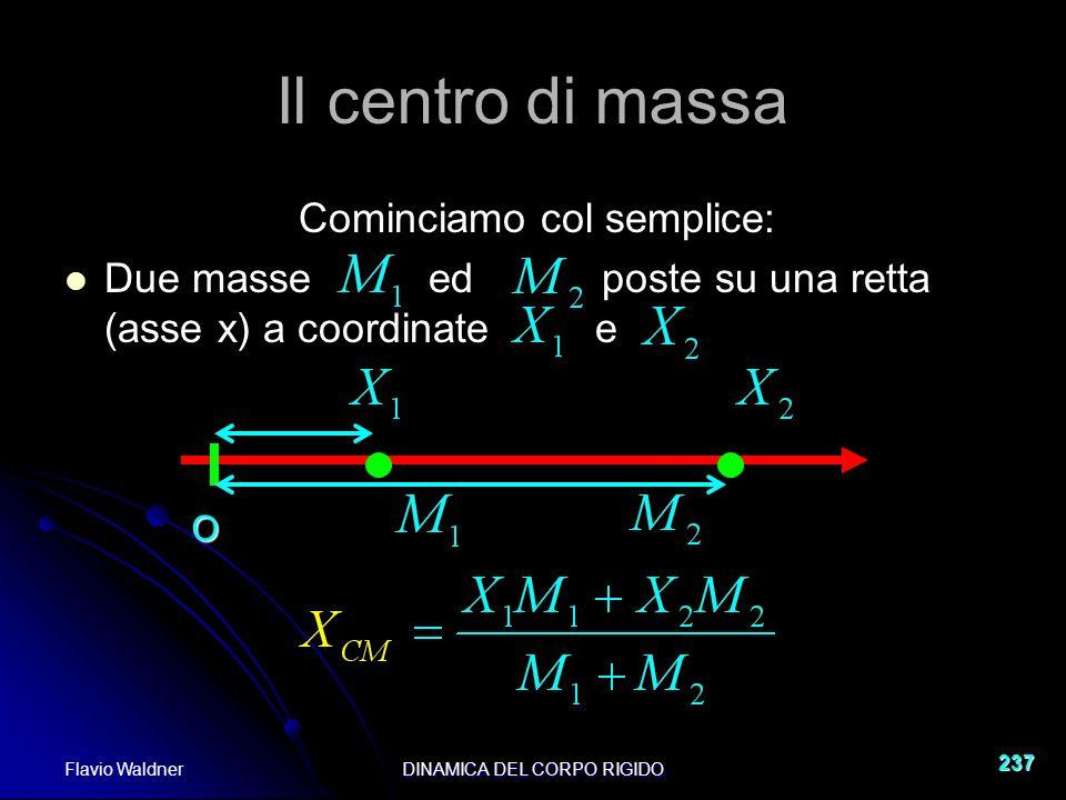 Flavio WaldnerDINAMICA DEL CORPO RIGIDO 237 Il centro di massa Cominciamo col semplice: Due masse ed poste su una retta (asse x) a coordinate e O