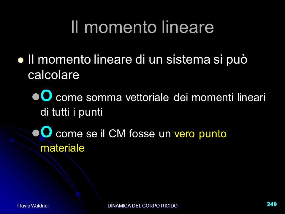 Flavio WaldnerDINAMICA DEL CORPO RIGIDO 249 Il momento lineare Il momento lineare di un sistema si può calcolare O come somma vettoriale dei momenti lineari di tutti i punti O come se il CM fosse un vero punto materiale