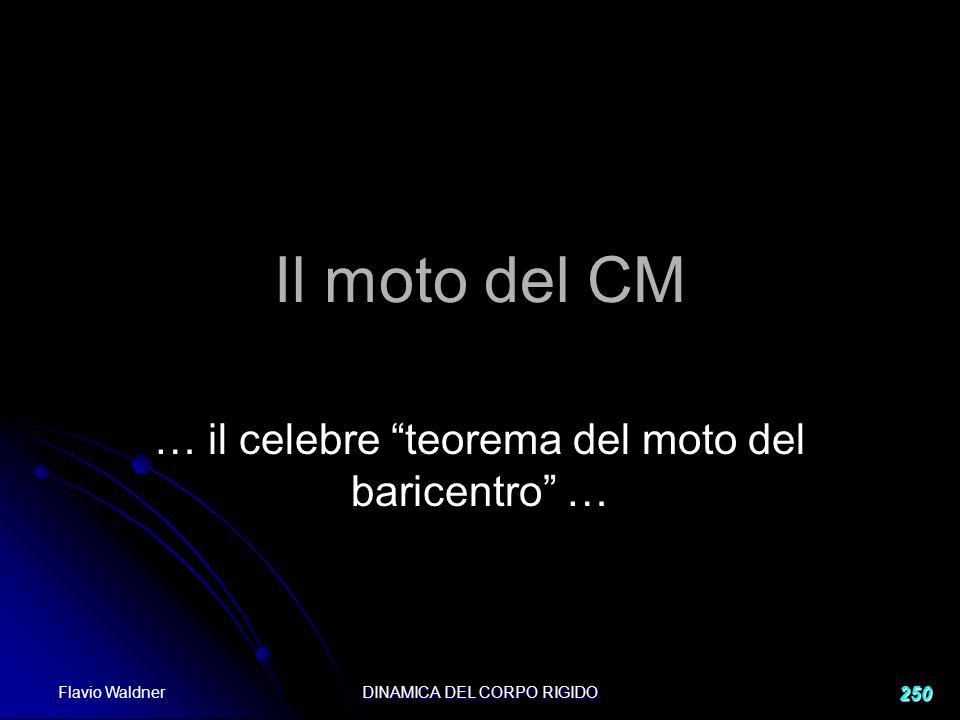 Flavio Waldner DINAMICA DEL CORPO RIGIDO 250 Il moto del CM … il celebre teorema del moto del baricentro …