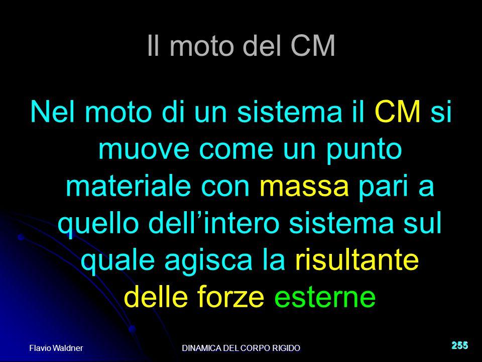 Flavio WaldnerDINAMICA DEL CORPO RIGIDO 255 Il moto del CM Nel moto di un sistema il CM si muove come un punto materiale con massa pari a quello dellintero sistema sul quale agisca la risultante delle forze esterne