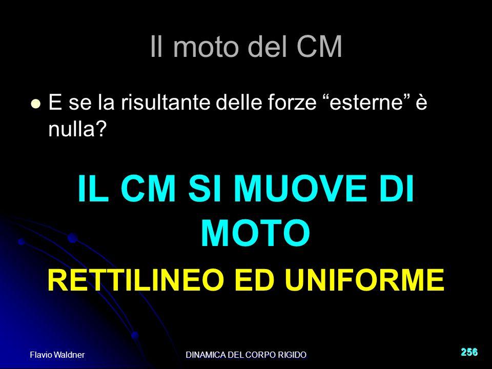 Flavio WaldnerDINAMICA DEL CORPO RIGIDO 256 Il moto del CM E se la risultante delle forze esterne è nulla.
