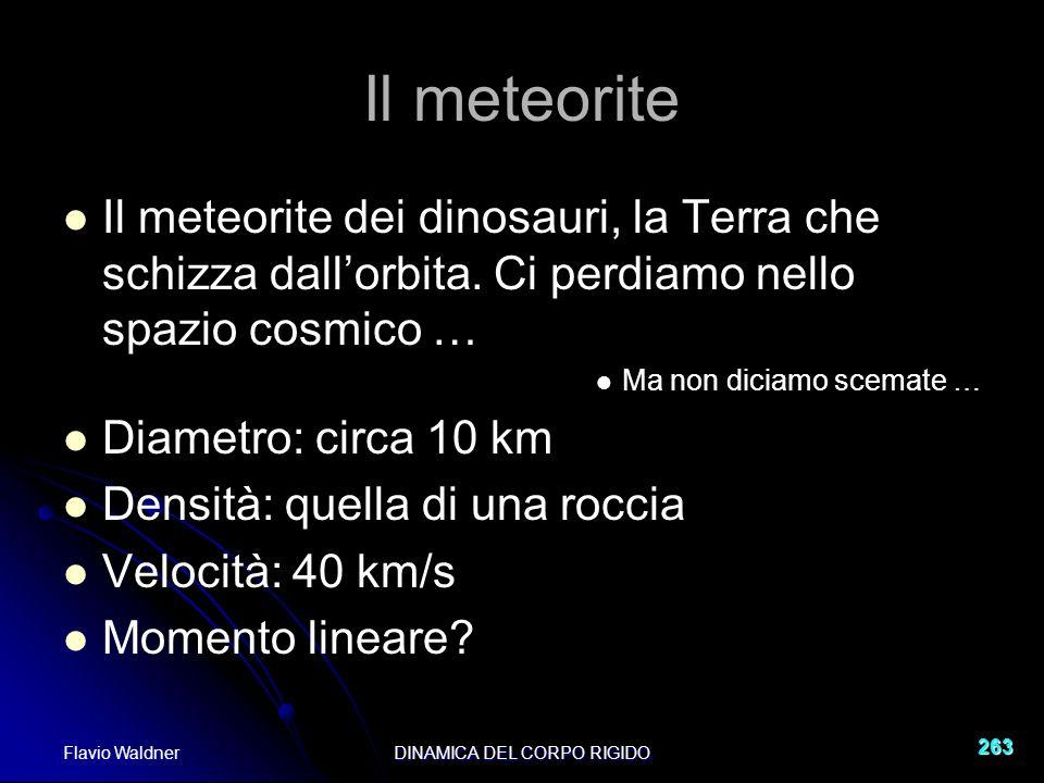 Flavio WaldnerDINAMICA DEL CORPO RIGIDO 263 Il meteorite Il meteorite dei dinosauri, la Terra che schizza dallorbita.