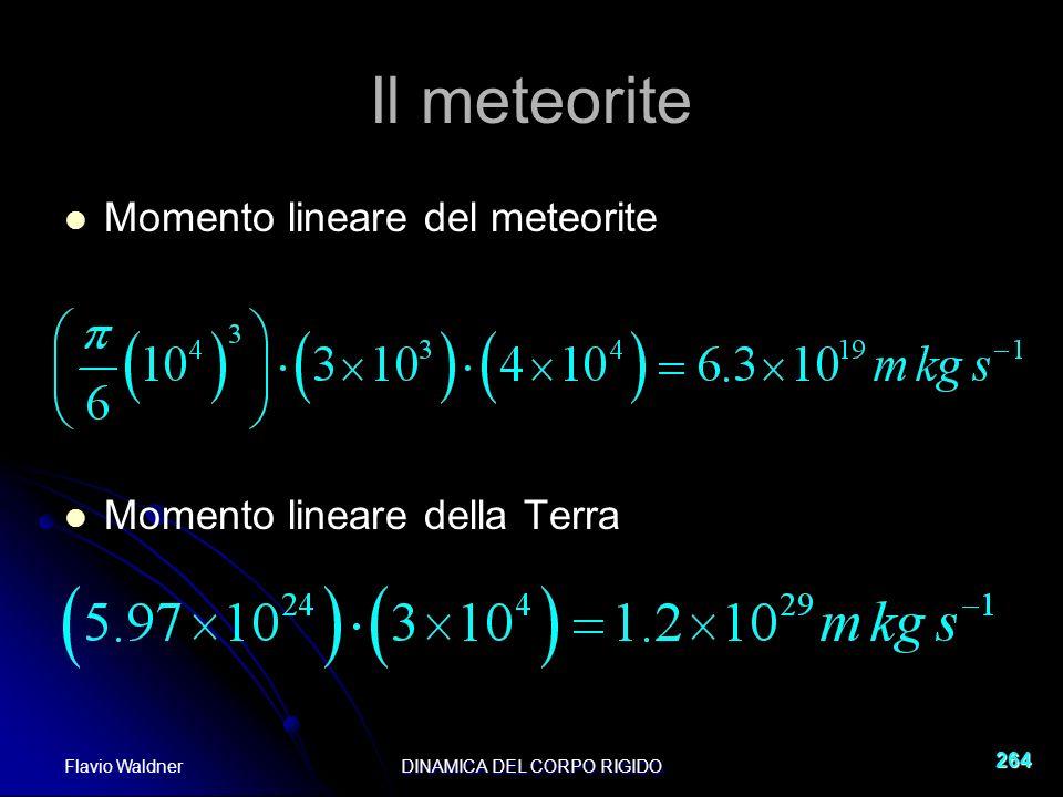 Flavio WaldnerDINAMICA DEL CORPO RIGIDO 264 Il meteorite Momento lineare del meteorite Momento lineare della Terra
