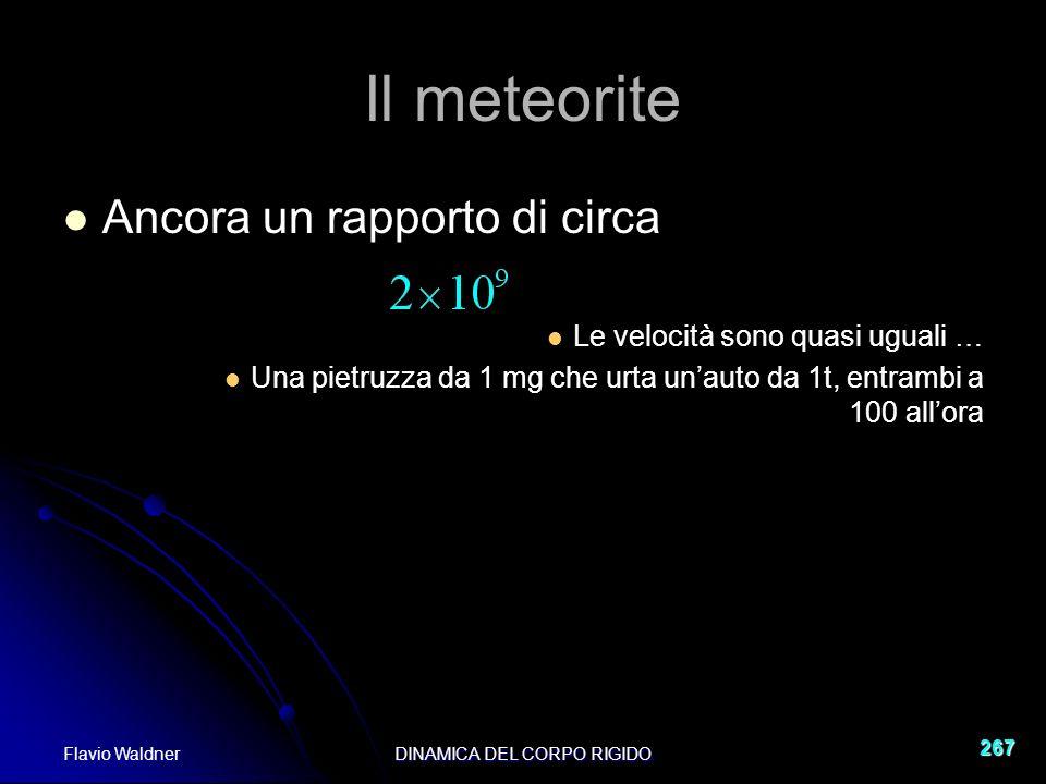 Flavio WaldnerDINAMICA DEL CORPO RIGIDO 267 Il meteorite Ancora un rapporto di circa Le velocità sono quasi uguali … Una pietruzza da 1 mg che urta unauto da 1t, entrambi a 100 allora
