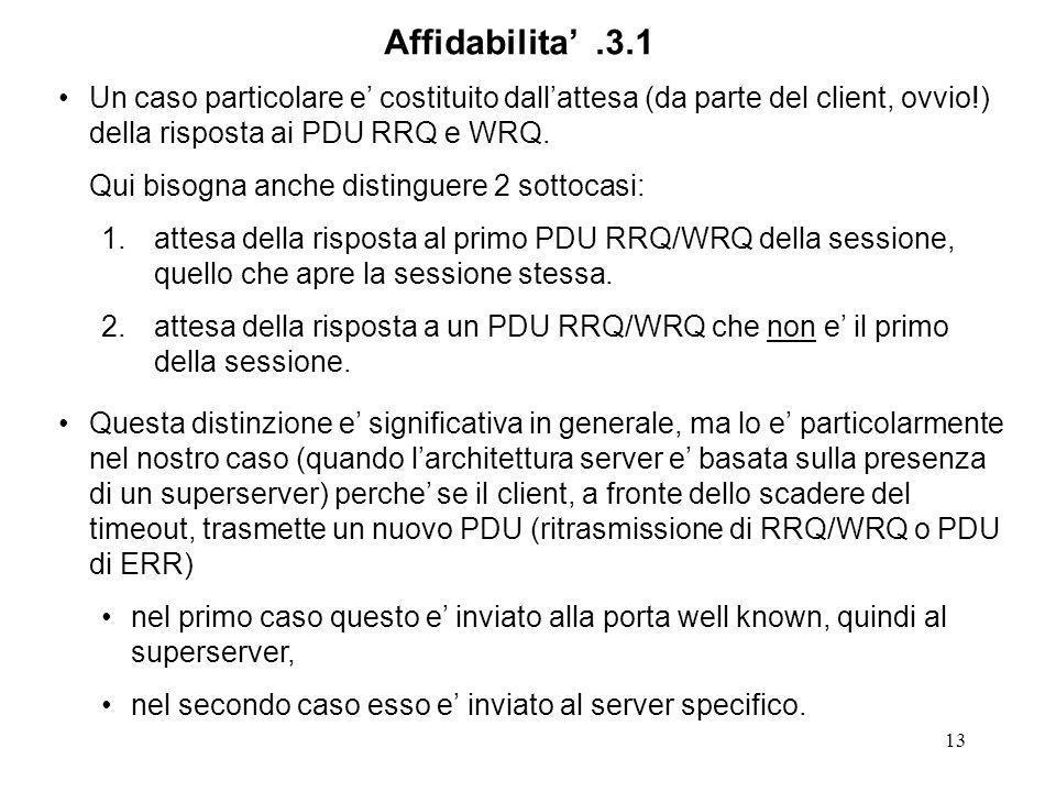 13 Un caso particolare e costituito dallattesa (da parte del client, ovvio!) della risposta ai PDU RRQ e WRQ.
