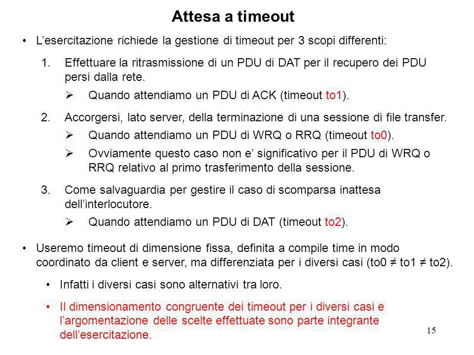 15 Attesa a timeout Lesercitazione richiede la gestione di timeout per 3 scopi differenti: 1.Effettuare la ritrasmissione di un PDU di DAT per il recupero dei PDU persi dalla rete.