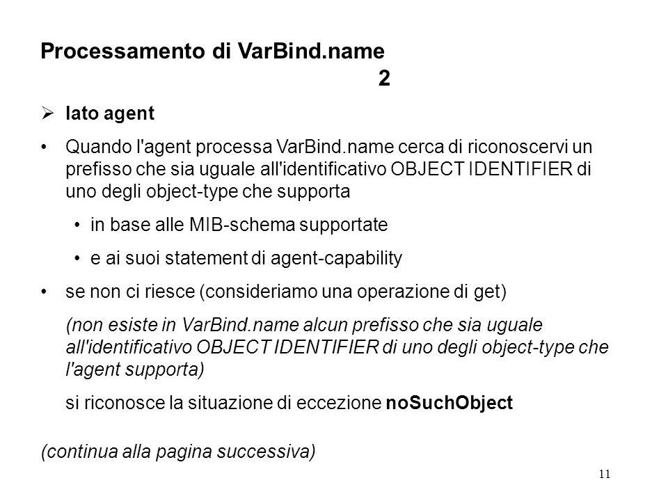 11 Processamento di VarBind.name 2 lato agent Quando l agent processa VarBind.name cerca di riconoscervi un prefisso che sia uguale all identificativo OBJECT IDENTIFIER di uno degli object-type che supporta in base alle MIB-schema supportate e ai suoi statement di agent-capability se non ci riesce (consideriamo una operazione di get) (non esiste in VarBind.name alcun prefisso che sia uguale all identificativo OBJECT IDENTIFIER di uno degli object-type che l agent supporta) si riconosce la situazione di eccezione noSuchObject (continua alla pagina successiva)