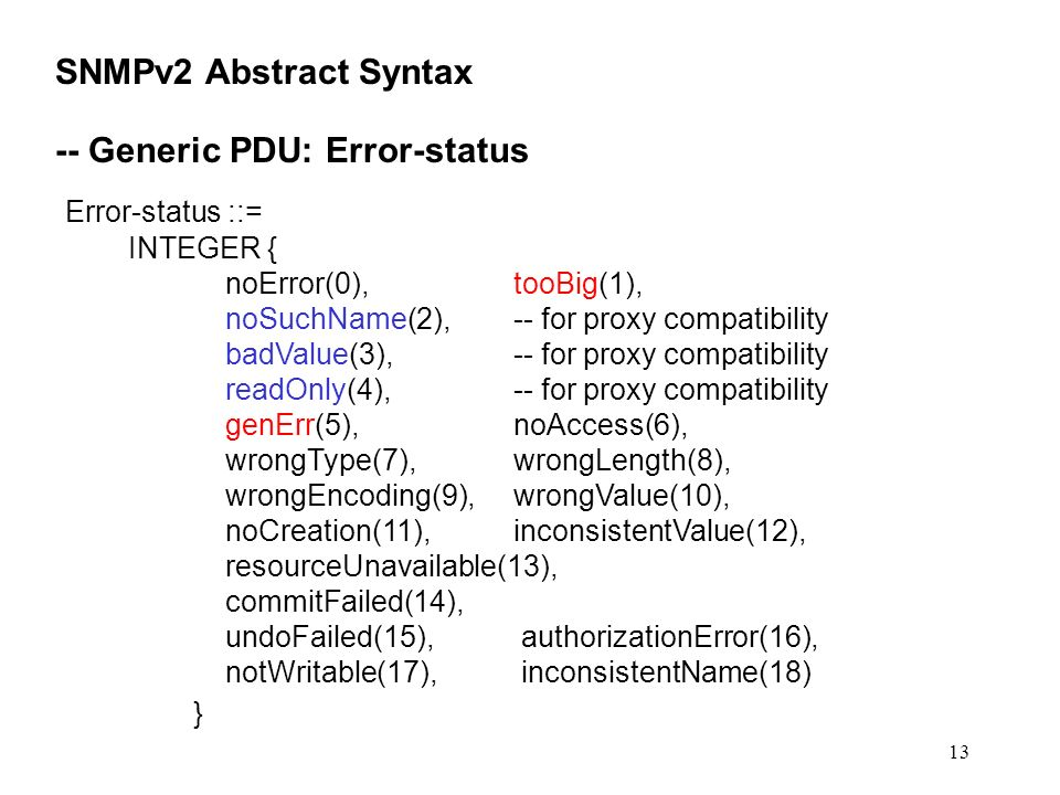 13 SNMPv2 Abstract Syntax -- Generic PDU: Error-status Error-status ::= INTEGER { noError(0),tooBig(1), noSuchName(2),-- for proxy compatibility badVa