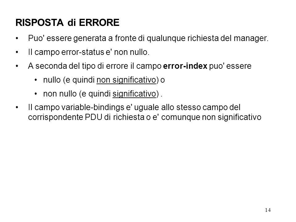 14 RISPOSTA di ERRORE Puo' essere generata a fronte di qualunque richiesta del manager. Il campo error-status e' non nullo. A seconda del tipo di erro