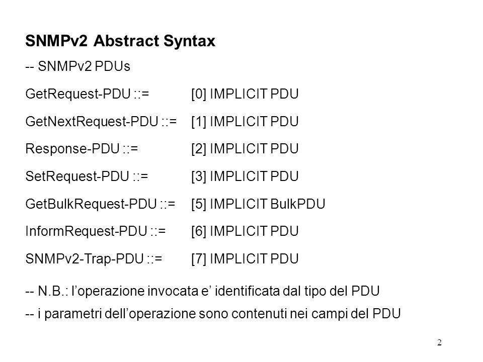 3 SNMPv2 Abstract Syntax -- Generic PDU PDU ::= SEQUENCE { request-idInteger32, error-statusError-status, -- sometimes ignored error-indexINTEGER (0..max-bindings), -- sometimes ignored variable-bindingsVarBindList -- values are sometimes ignored } -- vedi lezione 3 per la sintassi astratta completa di SNMPv2 -- in particolare: -- VarBindList ::= SEQUENCE (SIZE (0..max-bindings)) OF VarBind