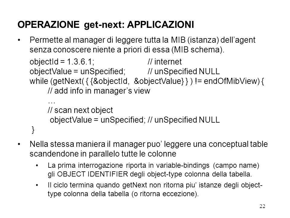 22 OPERAZIONE get-next: APPLICAZIONI Permette al manager di leggere tutta la MIB (istanza) dellagent senza conoscere niente a priori di essa (MIB schema).
