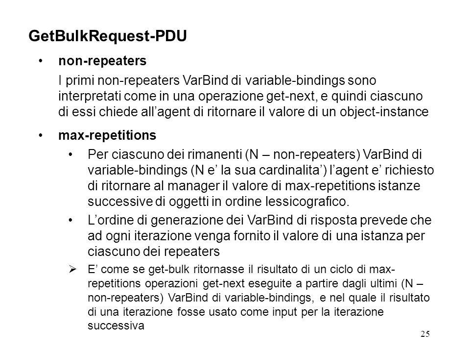 25 GetBulkRequest-PDU non-repeaters I primi non-repeaters VarBind di variable-bindings sono interpretati come in una operazione get-next, e quindi ciascuno di essi chiede allagent di ritornare il valore di un object-instance max-repetitions Per ciascuno dei rimanenti (N – non-repeaters) VarBind di variable-bindings (N e la sua cardinalita) lagent e richiesto di ritornare al manager il valore di max-repetitions istanze successive di oggetti in ordine lessicografico.