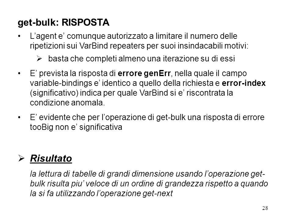 28 get-bulk: RISPOSTA Lagent e comunque autorizzato a limitare il numero delle ripetizioni sui VarBind repeaters per suoi insindacabili motivi: basta