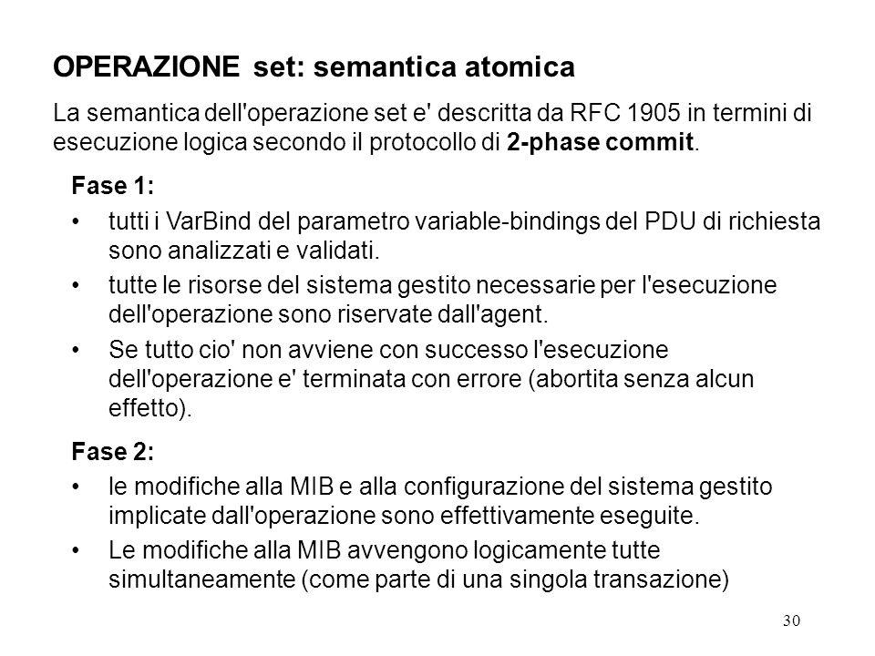 30 OPERAZIONE set: semantica atomica La semantica dell operazione set e descritta da RFC 1905 in termini di esecuzione logica secondo il protocollo di 2-phase commit.