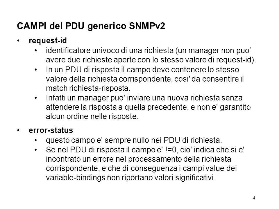 15 RISPOSTA di ERRORE I codici di errore da 1 a 5 sono comuni a SNMPv1 i codici tooBig(1) e genErr(5) sono utilizzati anche in SNMPv2 i codici da 2 a 4 sono utilizzati solo nei proxy di interworking SNMPv2- SNMPv1e sono riconosciuti per compatibilita anche da manager SNMPv2 Molti dei codici di errore sono utilizzabili solo in risposta ad operazioni di set.