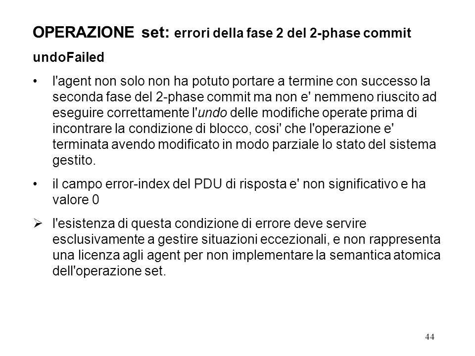 44 OPERAZIONE set: errori della fase 2 del 2-phase commit undoFailed l'agent non solo non ha potuto portare a termine con successo la seconda fase del