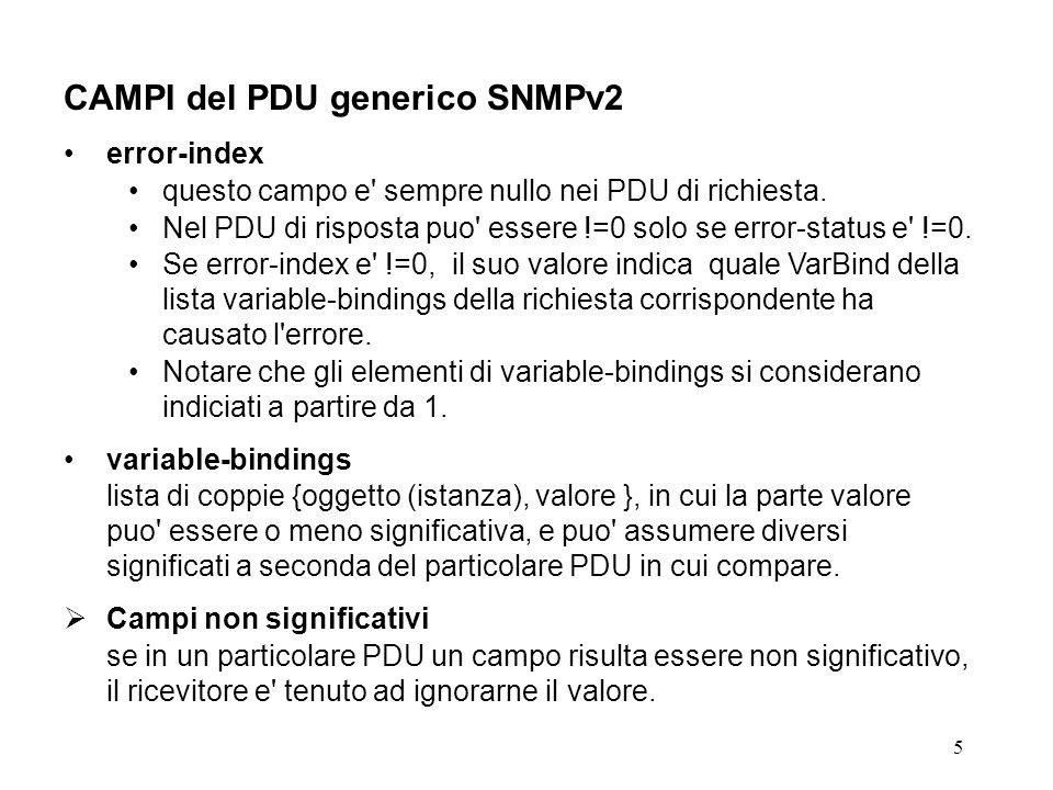 5 CAMPI del PDU generico SNMPv2 error-index questo campo e' sempre nullo nei PDU di richiesta. Nel PDU di risposta puo' essere !=0 solo se error-statu