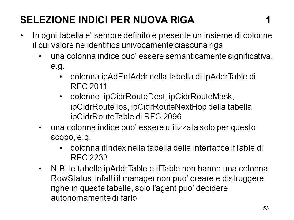 53 SELEZIONE INDICI PER NUOVA RIGA1 In ogni tabella e sempre definito e presente un insieme di colonne il cui valore ne identifica univocamente ciascuna riga una colonna indice puo essere semanticamente significativa, e.g.