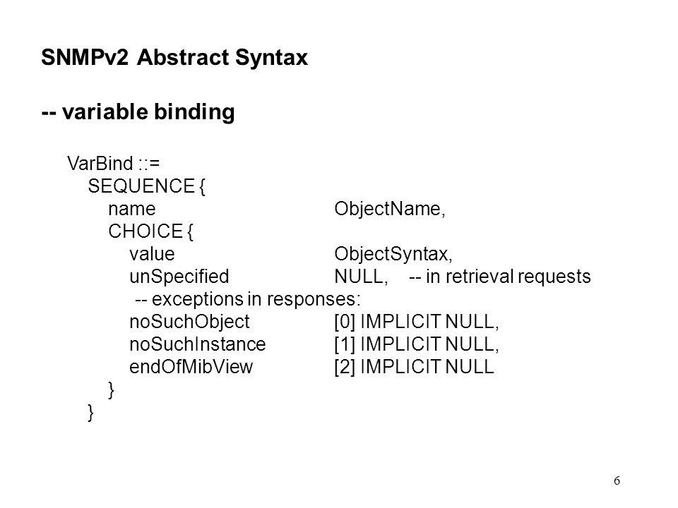 27 get-bulk: RISPOSTA In una request ben conformata e non-repeaters N, e di conseguenza #VarBind nel campo variable-bindings nella risposta = non-repeaters + (N – non-repeaters) * max-repetitions pero Se non-repeaters N loperazione viene interpretata come una normale get-next di tutti e soli i VarBind di variable- bindings Se la dimensione del PDU di risposta risulta eccessiva, esso viene troncato a contenere un numero intero di VarBind (in linea di principio, il numero massimo consentito dalla dimensione massima di un PDU SNMP) Il PDU di risposta e troncato anche in caso di condizione eccezionale endOfMibView per tutti i VarBind scanditi in una iterazione.
