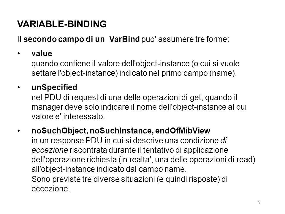 7 VARIABLE-BINDING Il secondo campo di un VarBind puo assumere tre forme: value quando contiene il valore dell object-instance (o cui si vuole settare l object-instance) indicato nel primo campo (name).