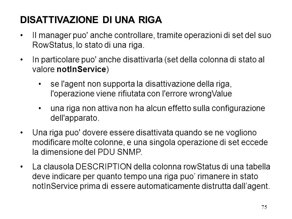 75 DISATTIVAZIONE DI UNA RIGA Il manager puo anche controllare, tramite operazioni di set del suo RowStatus, lo stato di una riga.