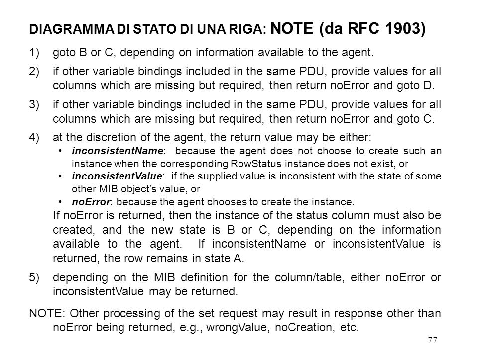 77 DIAGRAMMA DI STATO DI UNA RIGA: NOTE (da RFC 1903) 1)goto B or C, depending on information available to the agent. 2)if other variable bindings inc
