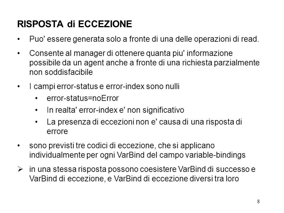 9 CODICI di ECCEZIONE codici di eccezione previsti: noSuchObject indica che l operazione di get sta cercando di accedere una istanza di un object-type non supportato dall agent.