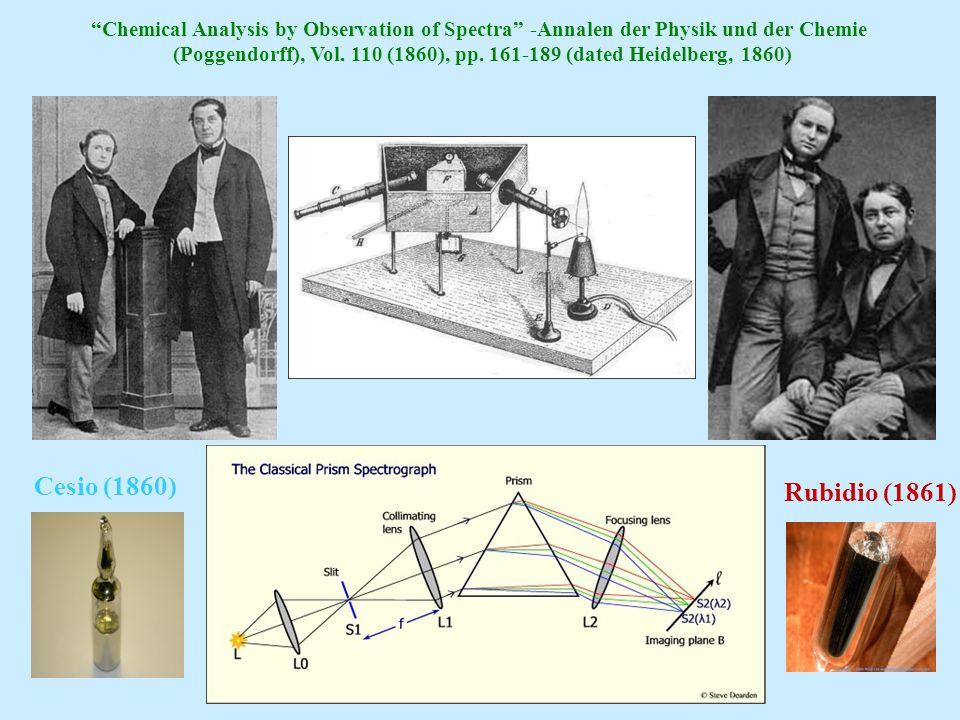 Chemical Analysis by Observation of Spectra -Annalen der Physik und der Chemie (Poggendorff), Vol. 110 (1860), pp. 161-189 (dated Heidelberg, 1860) Ce
