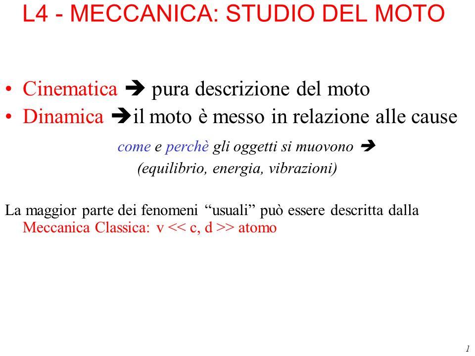 1 L4 - MECCANICA: STUDIO DEL MOTO Cinematica pura descrizione del moto Dinamica il moto è messo in relazione alle cause come e perchè gli oggetti si m
