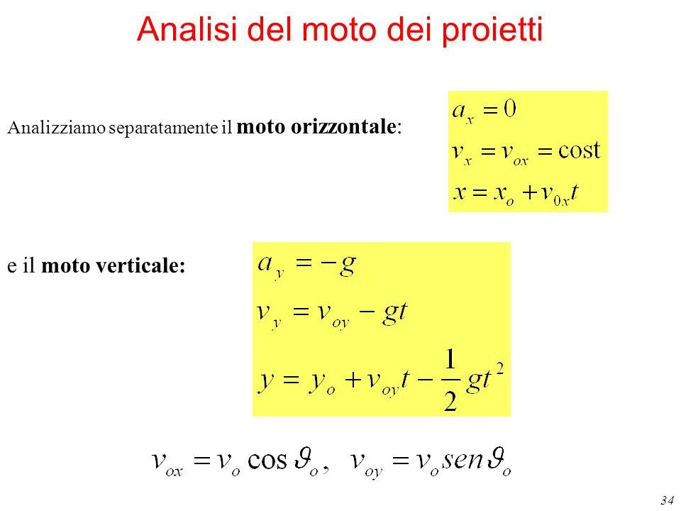 34 Analisi del moto dei proietti Analizziamo separatamente il moto orizzontale: e il moto verticale: