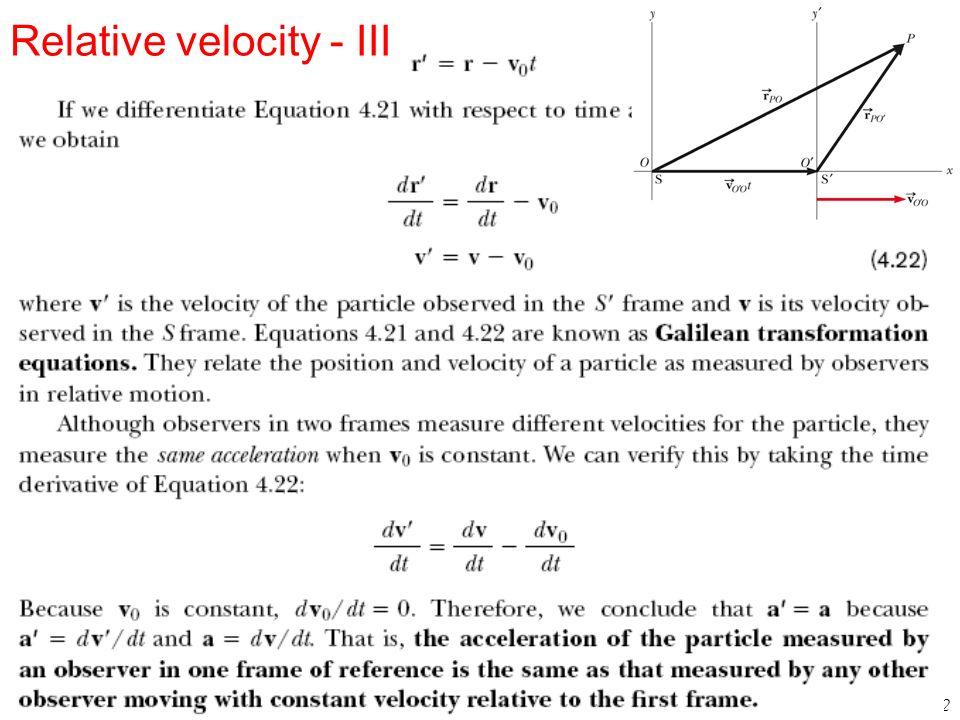 42 Relative velocity - III