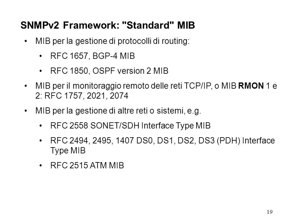 19 SNMPv2 Framework: Standard MIB MIB per la gestione di protocolli di routing: RFC 1657, BGP-4 MIB RFC 1850, OSPF version 2 MIB MIB per il monitoraggio remoto delle reti TCP/IP, o MIB RMON 1 e 2: RFC 1757, 2021, 2074 MIB per la gestione di altre reti o sistemi, e.g.